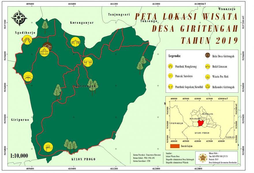 Image : Peta  Persebaran Lokasi Wisata Desa Giritengah Tahun 2019